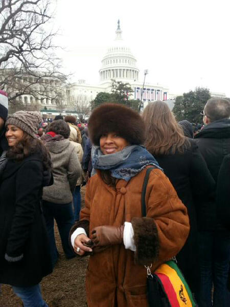 Ms. Regina Jackson in front of the Nation's Capitol.